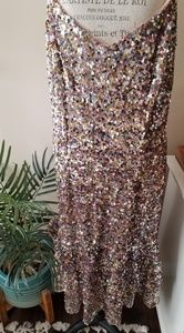 Adrianna Papell pink sequin dress